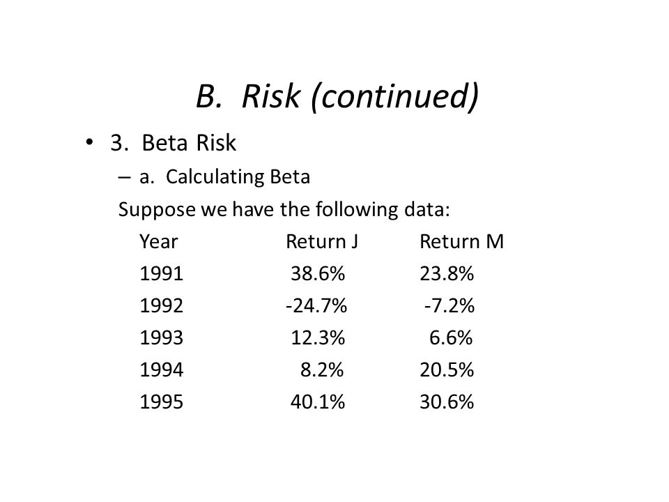 B. Risk (continued) 3. Beta Risk – a. Calculating Beta Suppose we have the following data: YearReturn JReturn M 1991 38.6%23.8% 1992-24.7% -7.2% 1993