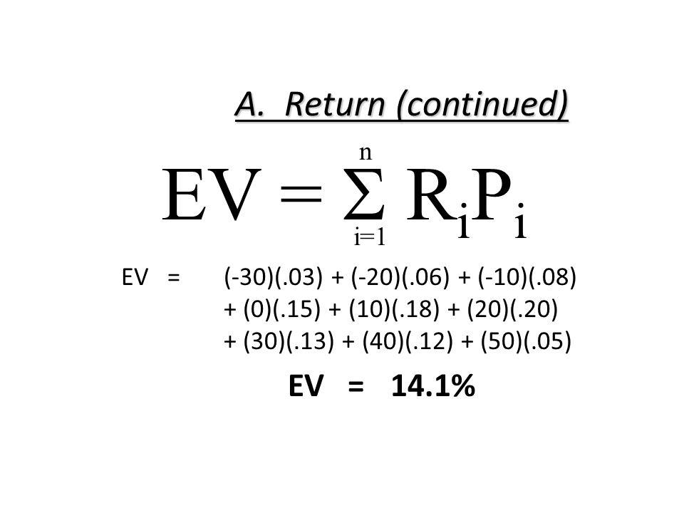 A. Return (continued) EV =(-30)(.03) + (-20)(.06) + (-10)(.08) + (0)(.15) + (10)(.18) + (20)(.20) + (30)(.13) + (40)(.12) + (50)(.05) EV =14.1% EV = 