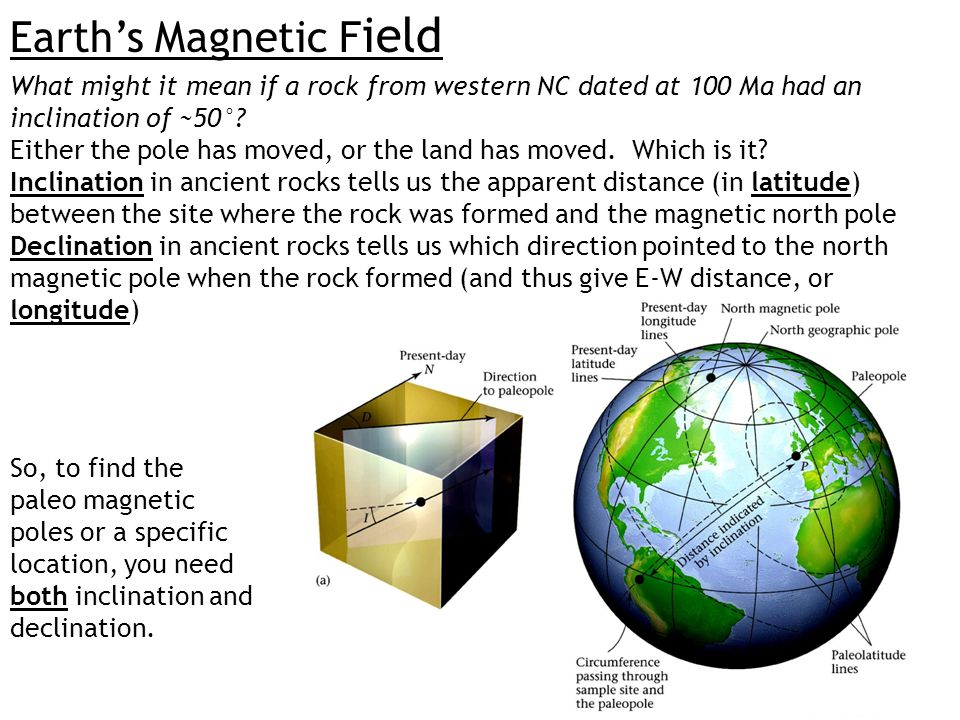 Earth's Magnetic F ield What might it mean if a rock from western NC dated at 100 Ma had an inclination of ~50°? Either the pole has moved, or the lan
