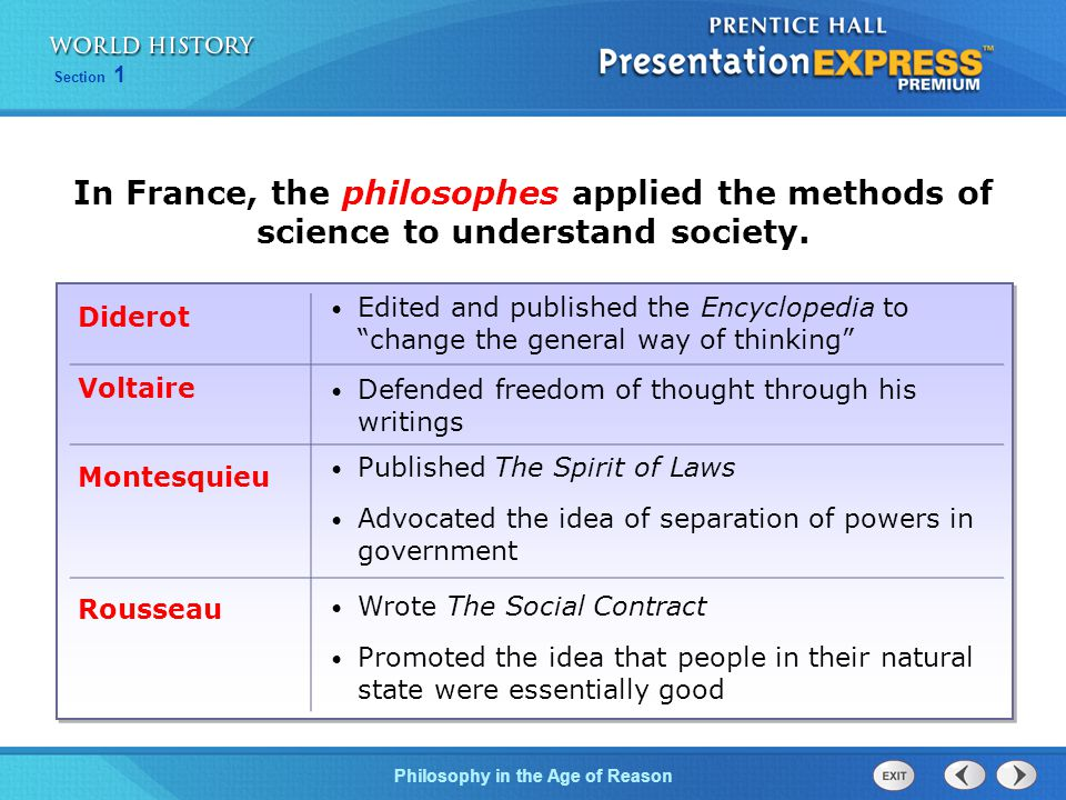 Philosophy in the Age of Reason Section 1 In France, the philosophes applied the methods of science to understand society.