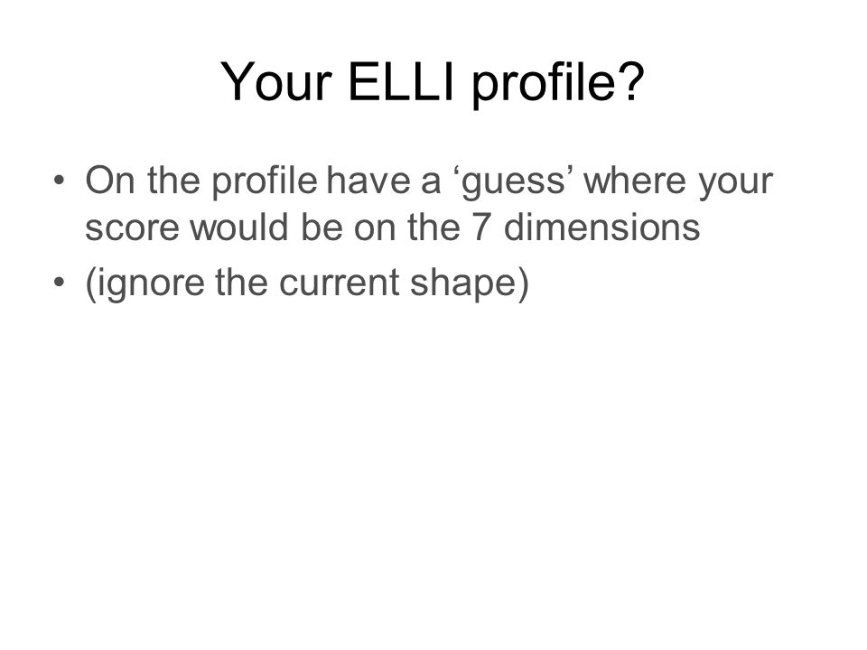 Your ELLI profile.