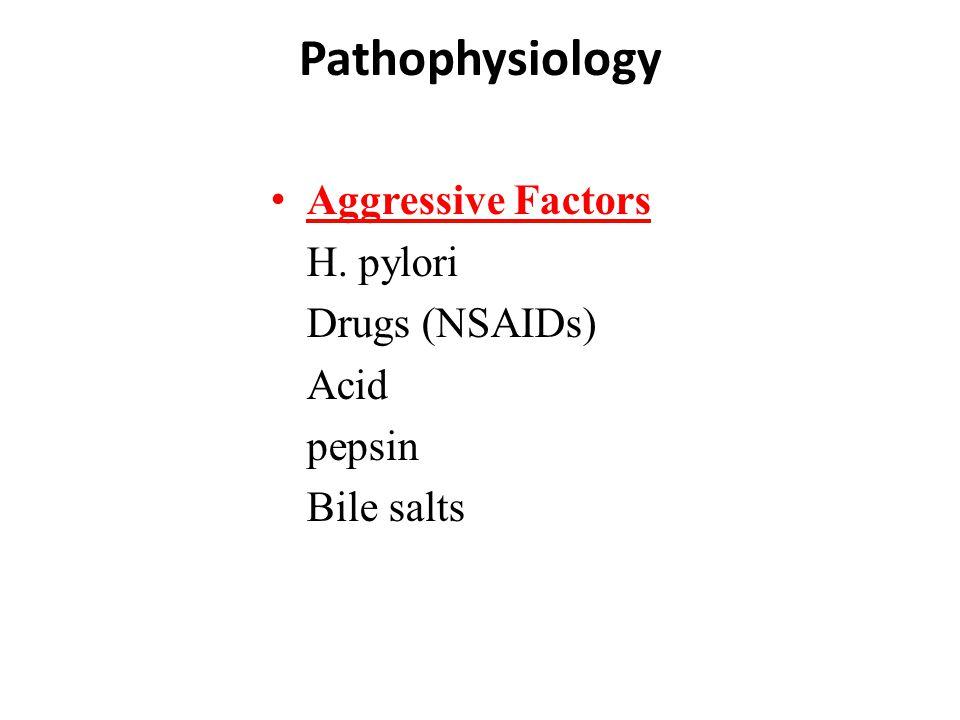 Pathophysiology Aggressive Factors H. pylori Drugs (NSAIDs) Acid pepsin Bile salts