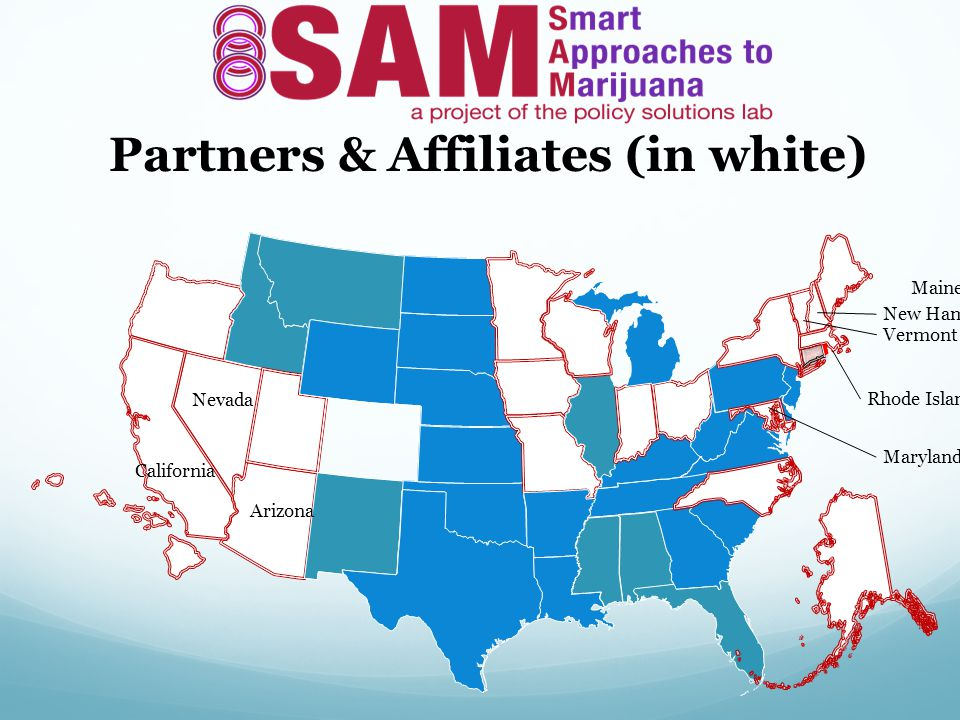 Arizona California Maine Nevada New Hampshire Vermont Maryland Rhode Island Partners & Affiliates (in white)