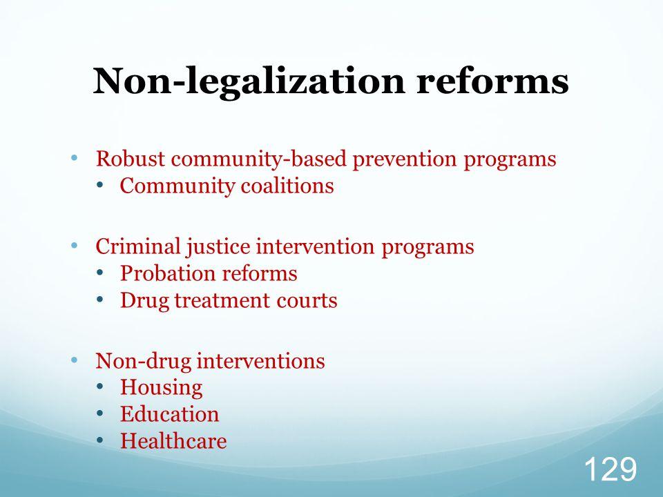 Robust community-based prevention programs Community coalitions Criminal justice intervention programs Probation reforms Drug treatment courts Non-dru