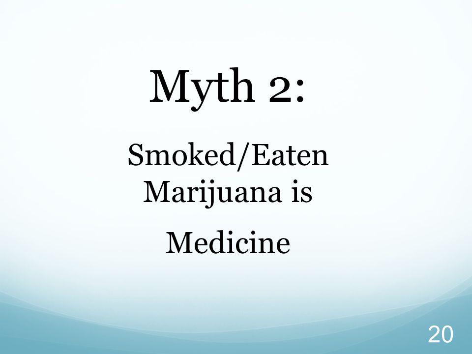 20 Myth 2: Smoked/Eaten Marijuana is Medicine