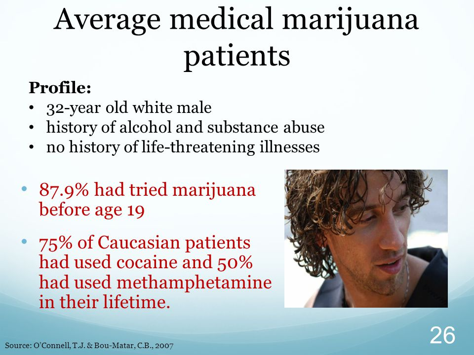 87.9% had tried marijuana before age 19 75% of Caucasian patients had used cocaine and 50% had used methamphetamine in their lifetime. Average medical
