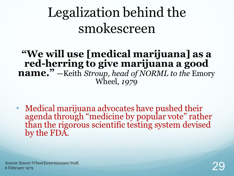 """""""We will use [medical marijuana] as a red-herring to give marijuana a good name."""" —Keith Stroup, head of NORML to the Emory Wheel, 1979 Medical mariju"""