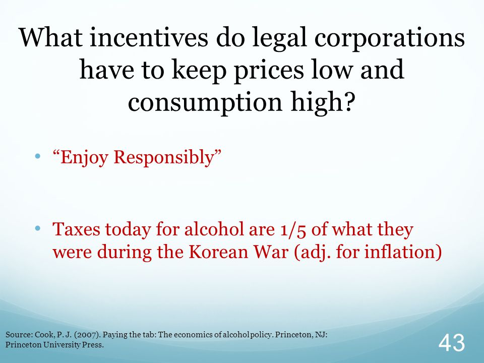 """What incentives do legal corporations have to keep prices low and consumption high? """"Enjoy Responsibly"""" Taxes today for alcohol are 1/5 of what they w"""