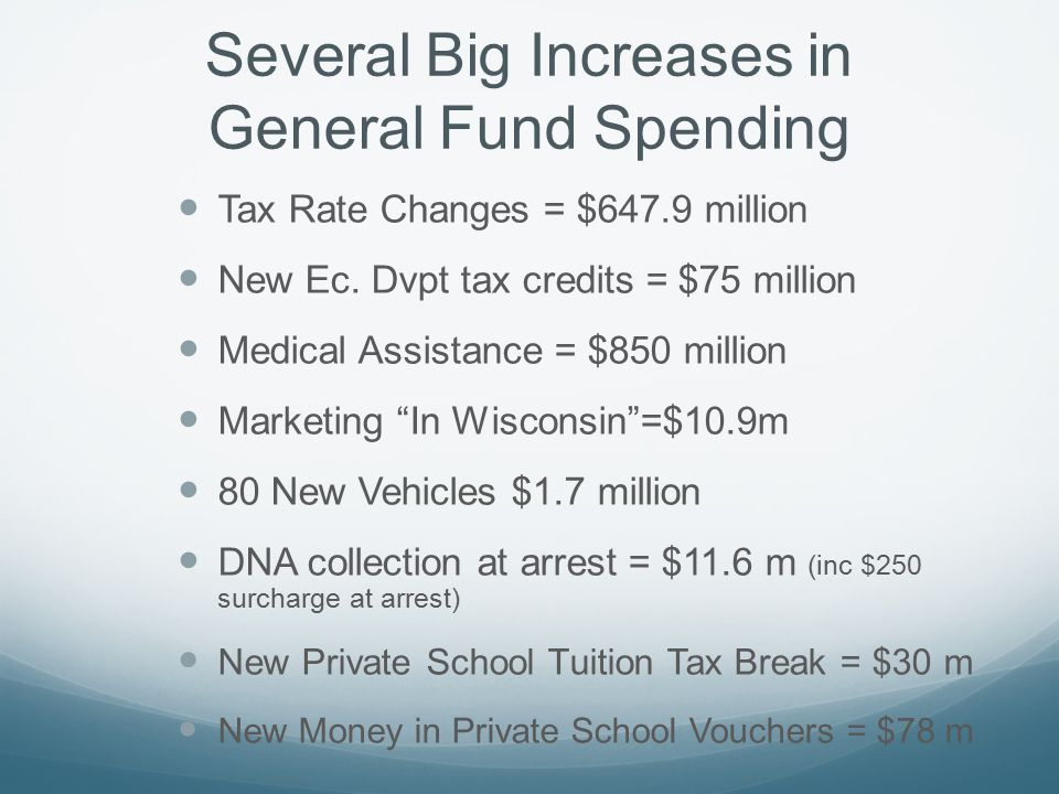 Several Big Increases in General Fund Spending Tax Rate Changes = $647.9 million New Ec.