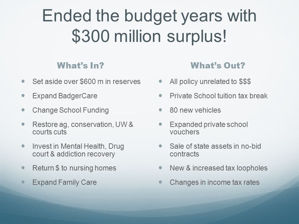 Ended the budget years with $300 million surplus. What's In What's Out.