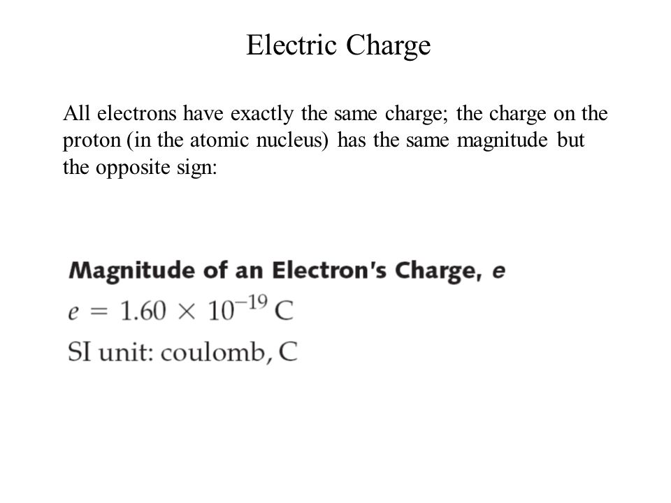Electric Charge All electrons have exactly the same charge; the charge on the proton (in the atomic nucleus) has the same magnitude but the opposite s