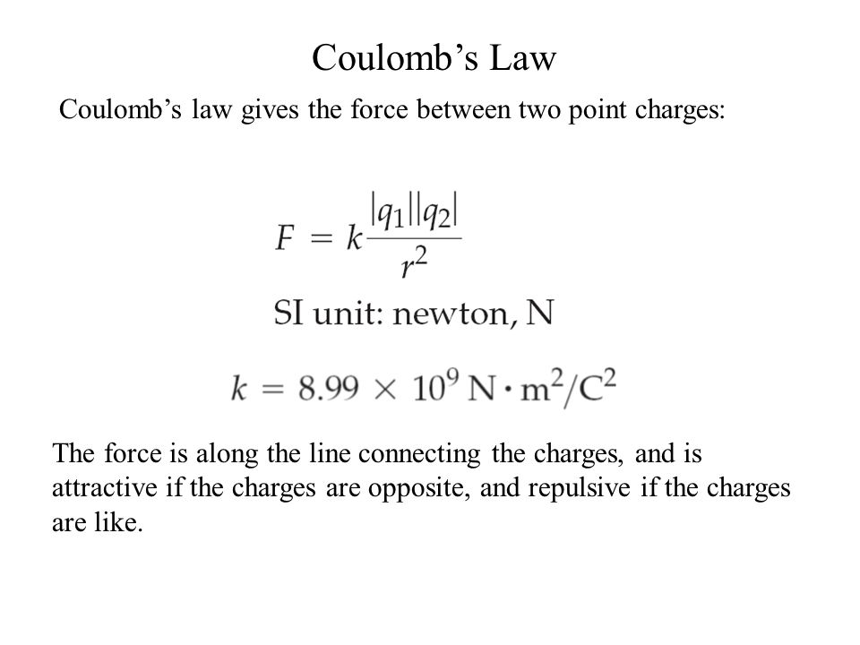 Coulomb's Law Coulomb's law gives the force between two point charges: The force is along the line connecting the charges, and is attractive if the charges are opposite, and repulsive if the charges are like.