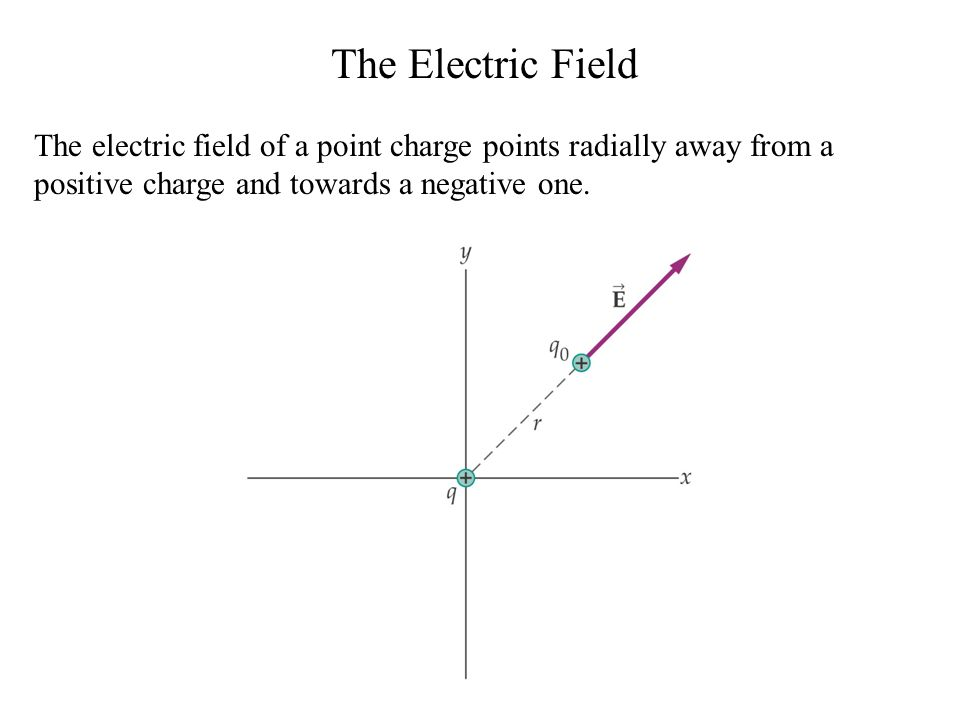 The Electric Field The electric field of a point charge points radially away from a positive charge and towards a negative one.