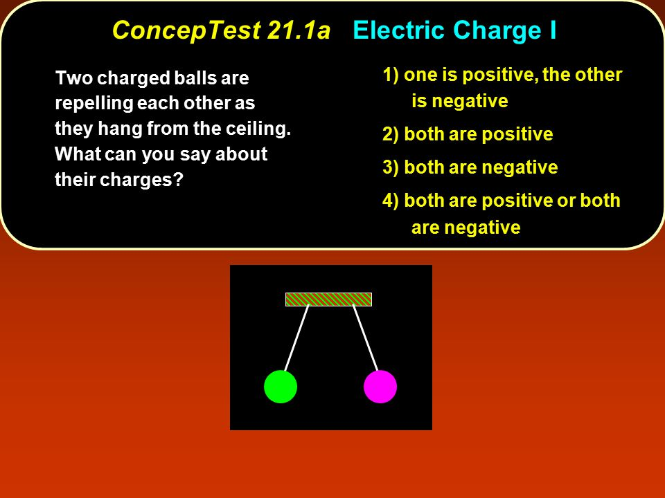 ConcepTest 21.1aElectric Charge I ConcepTest 21.1a Electric Charge I 1) one is positive, the other is negative 2) both are positive 3) both are negative 4) both are positive or both are negative Two charged balls are repelling each other as they hang from the ceiling.