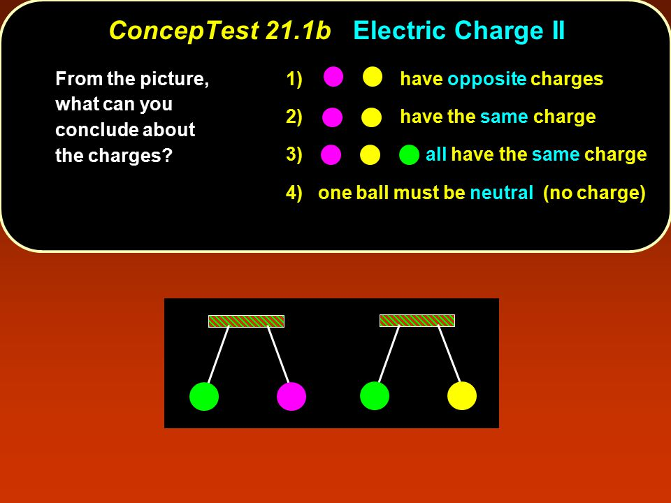 1) have opposite charges 2) have the same charge 3) all have the same charge 4) one ball must be neutral (no charge) From the picture, what can you co