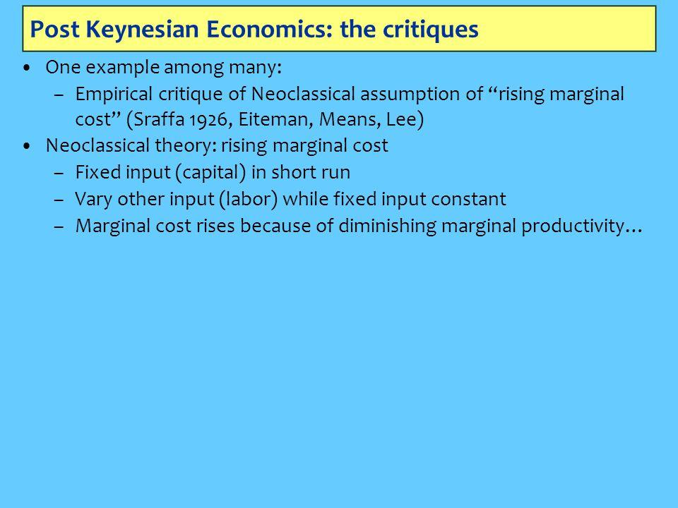 "Post Keynesian Economics: the critiques One example among many: –Empirical critique of Neoclassical assumption of ""rising marginal cost"" (Sraffa 1926,"
