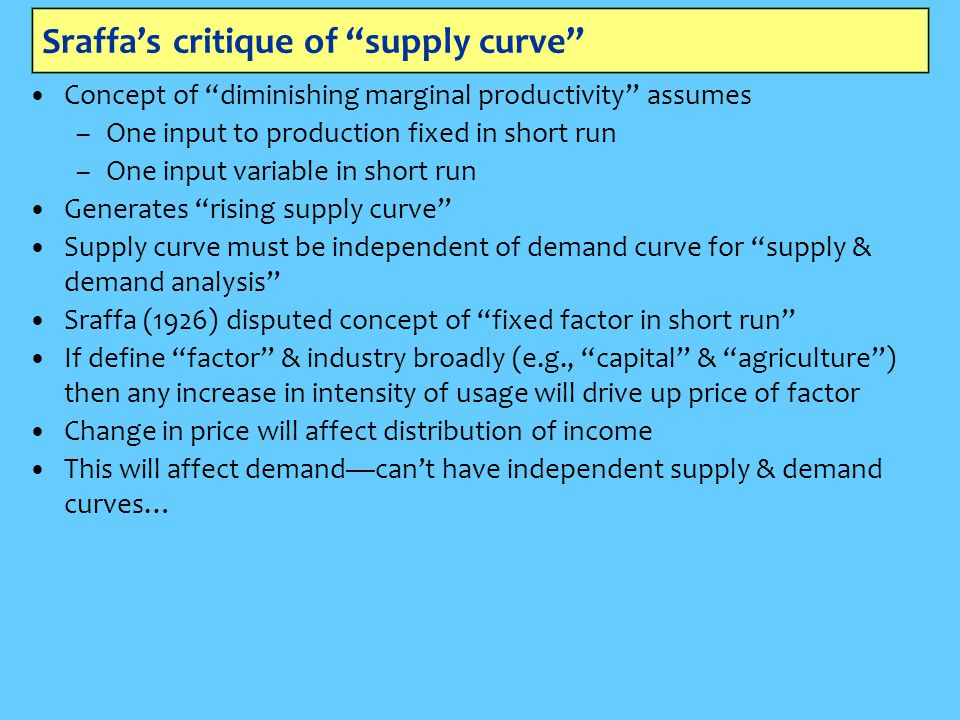 """Sraffa's critique of """"supply curve"""" Concept of """"diminishing marginal productivity"""" assumes –One input to production fixed in short run –One input vari"""