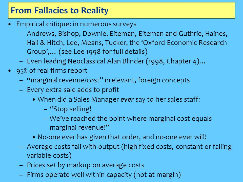 From Fallacies to Reality Empirical critique: in numerous surveys –Andrews, Bishop, Downie, Eiteman, Eiteman and Guthrie, Haines, Hall & Hitch, Lee, M