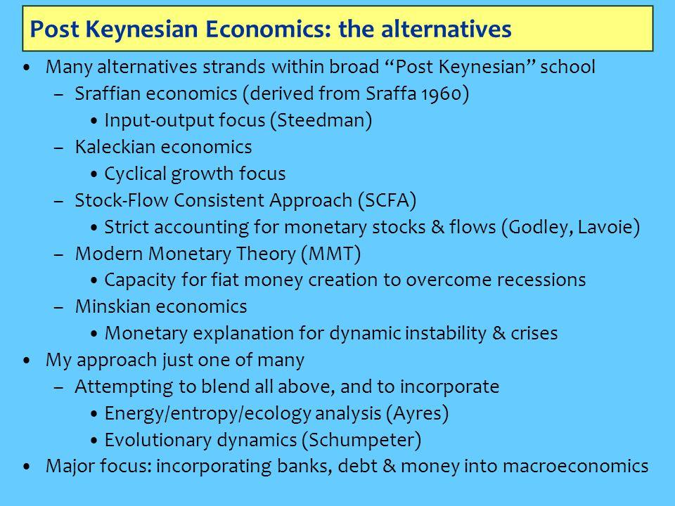 "Post Keynesian Economics: the alternatives Many alternatives strands within broad ""Post Keynesian"" school –Sraffian economics (derived from Sraffa 196"