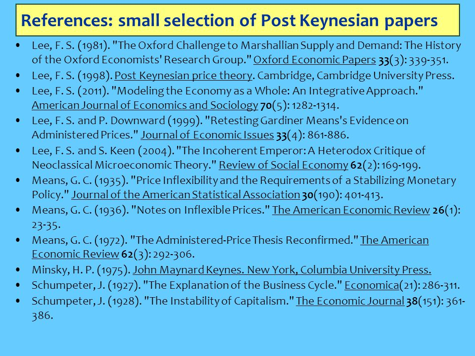 References: small selection of Post Keynesian papers Lee, F. S. (1981).