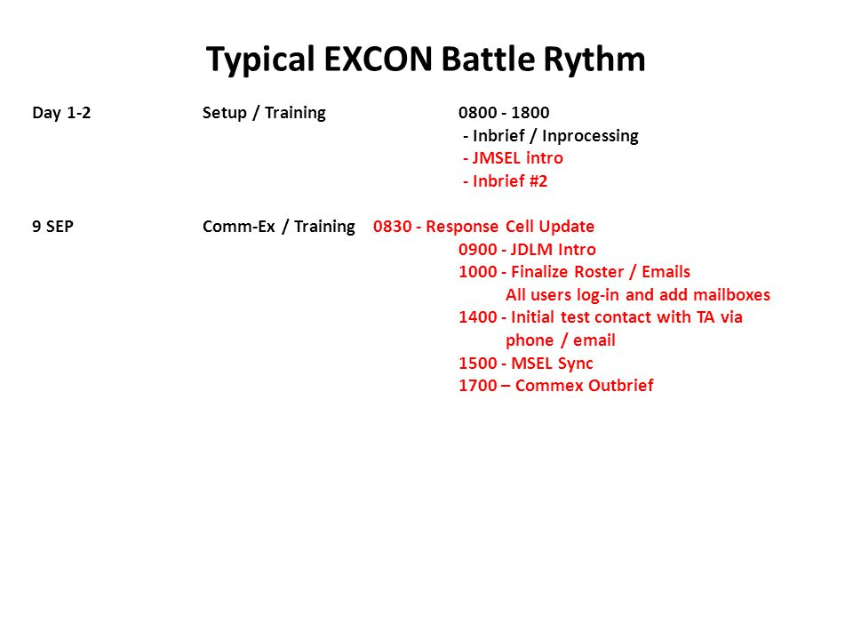 Typical EXCON Battle Rythm Day 1-2Setup / Training0800 - 1800 - Inbrief / Inprocessing - JMSEL intro - Inbrief #2 9 SEPComm-Ex / Training0830 - Respon