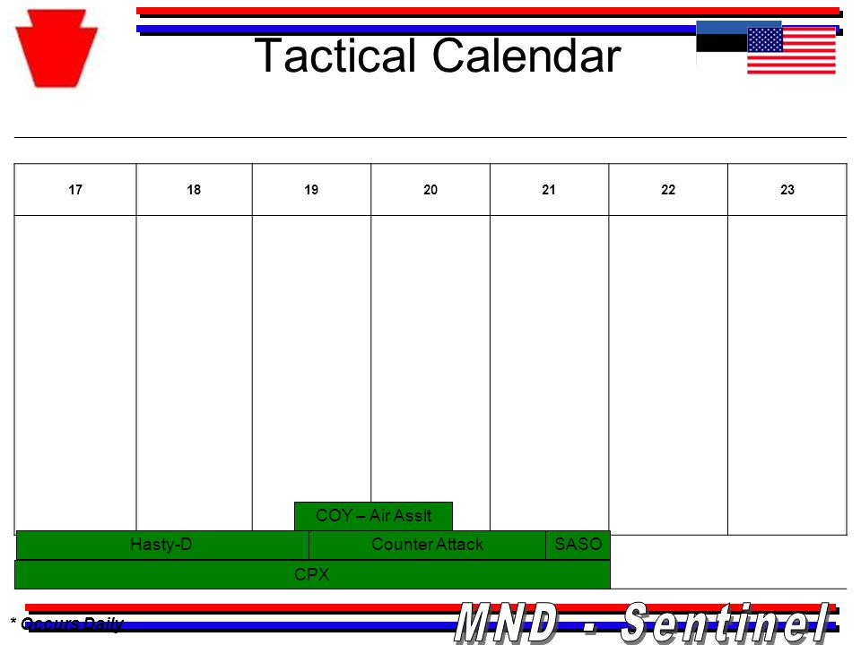 Tactical Calendar * Occurs Daily 17181920212223 CPX Hasty-D COY – Air Asslt SASOCounter Attack