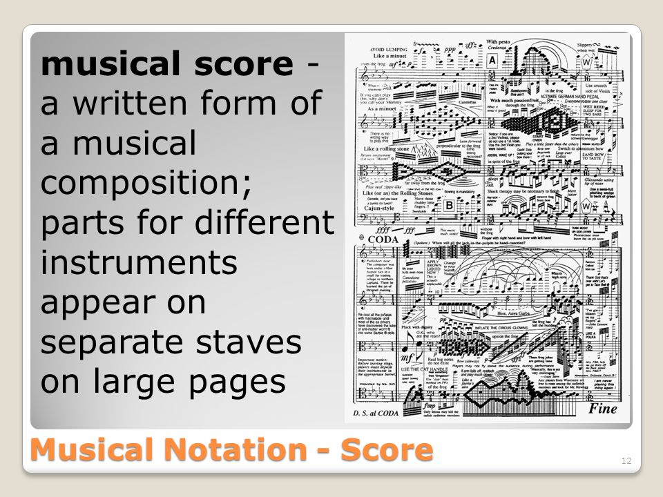Musical Notation - Score 12 musical score - a written form of a musical composition; parts for different instruments appear on separate staves on large pages