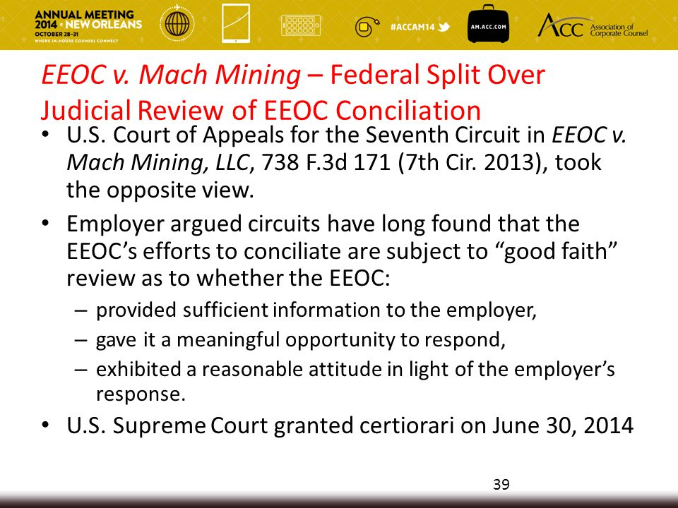 EEOC v. Mach Mining – Federal Split Over Judicial Review of EEOC Conciliation U.S.