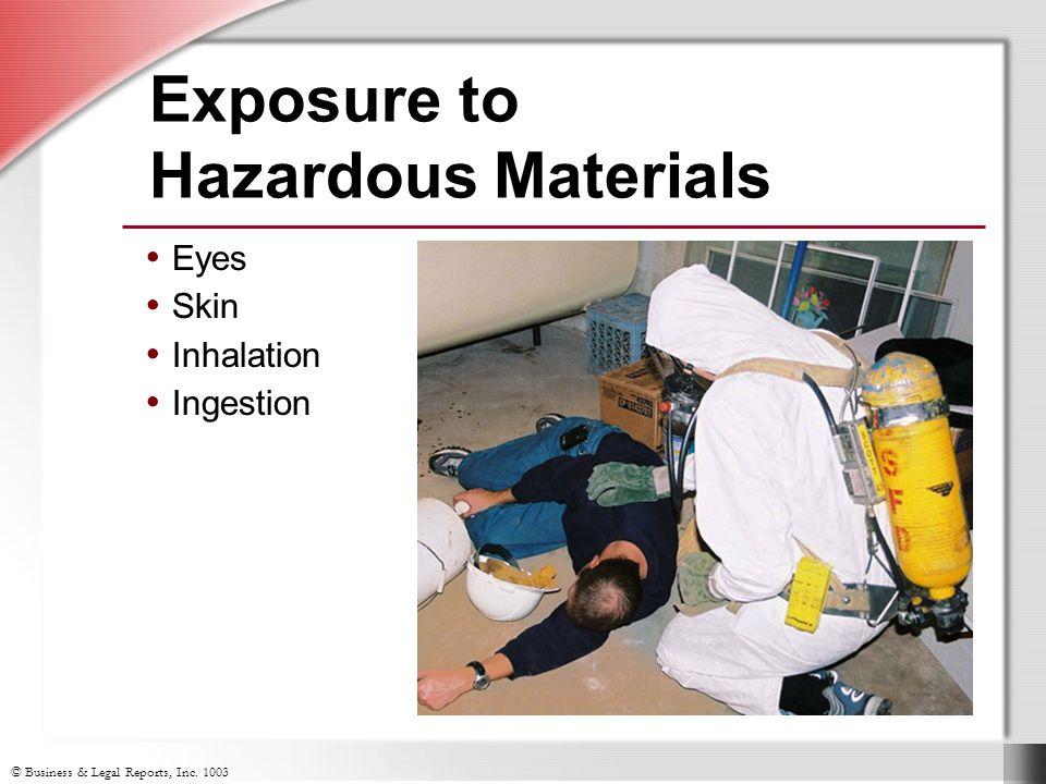 Eyes Skin Inhalation Ingestion Exposure to Hazardous Materials Eyes Skin Inhalation Ingestion