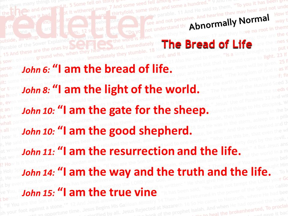 The Bread of Life 1.Both Jesus and the people are talking about what sustains life 2.Jesus claims that the source of eternal life is in himself I AM the bread of life