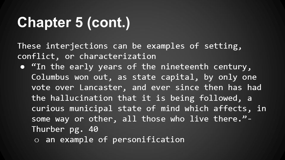 Chapter 5 (cont.) ● uses the phrase over and over on pages 40, 41, and 43 o an example of alliteration o refers to the two instances that occur ● Chronological order ● Paragraphs range from a few lines to page-long length o more inconsistency that creates chaos