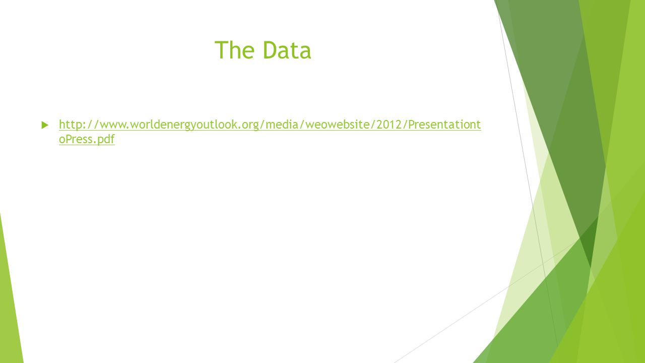 The Data  http://www.worldenergyoutlook.org/media/weowebsite/2012/Presentationt oPress.pdf http://www.worldenergyoutlook.org/media/weowebsite/2012/Presentationt oPress.pdf