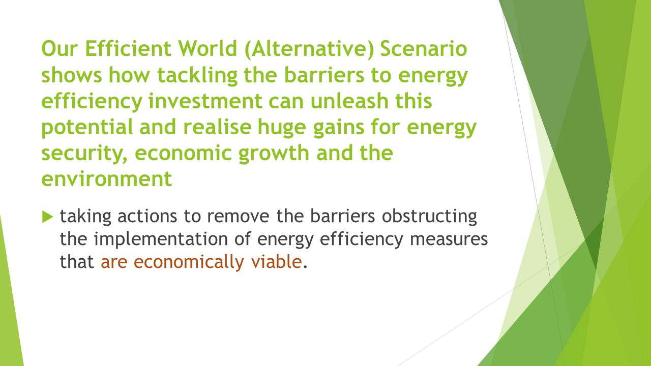 Our Efficient World (Alternative) Scenario shows how tackling the barriers to energy efficiency investment can unleash this potential and realise huge gains for energy security, economic growth and the environment  taking actions to remove the barriers obstructing the implementation of energy efficiency measures that are economically viable.