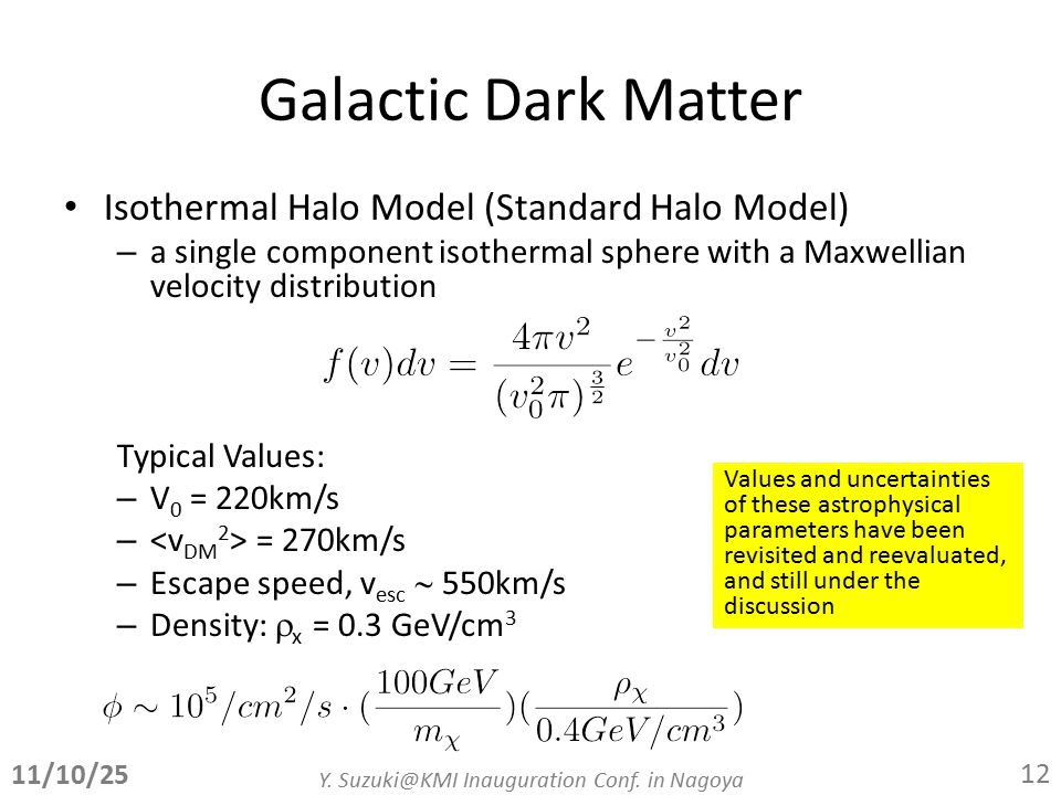 Galactic Dark Matter Isothermal Halo Model (Standard Halo Model) – a single component isothermal sphere with a Maxwellian velocity distribution Typical Values: – V 0 = 220km/s – = 270km/s – Escape speed, v esc  550km/s – Density:  x = 0.3 GeV/cm 3 11/10/25 Y.