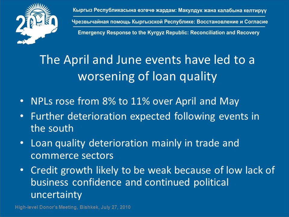 The April and June events have led to a worsening of loan quality NPLs rose from 8% to 11% over April and May Further deterioration expected following