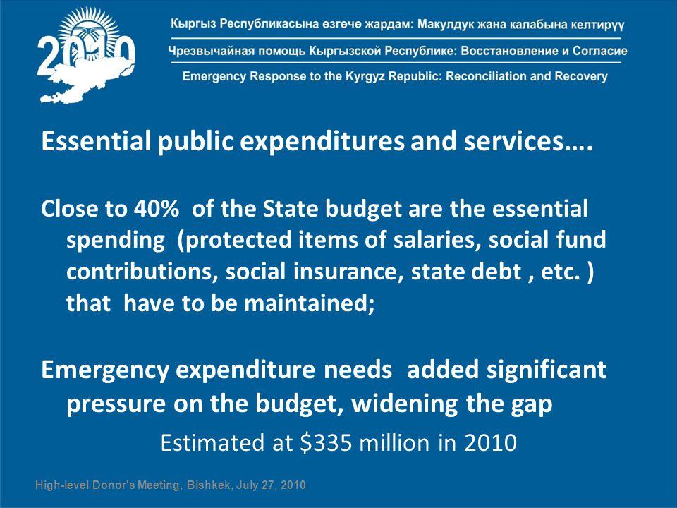 Essential public expenditures and services….