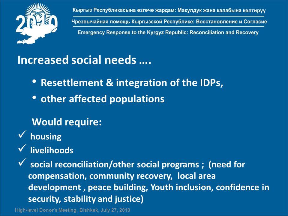 Increased social needs ….