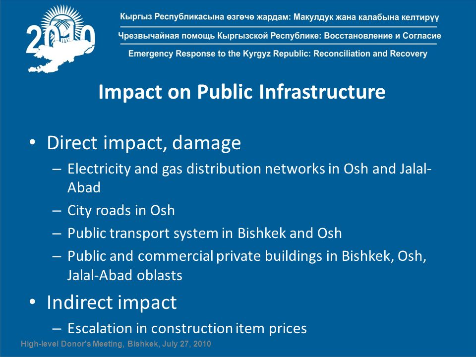 Impact on Public Infrastructure Direct impact, damage – Electricity and gas distribution networks in Osh and Jalal- Abad – City roads in Osh – Public transport system in Bishkek and Osh – Public and commercial private buildings in Bishkek, Osh, Jalal-Abad oblasts Indirect impact – Escalation in construction item prices High-level Donor s Meeting, Bishkek, July 27, 2010