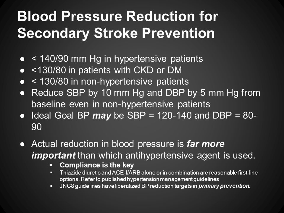 Blood Pressure in Acute Ischemic Stroke - (Preserve the Penumbra!) ●Low blood pressure or aggressive lowering of high blood pressure may be associated with worsening of stroke deficits in the acute setting.