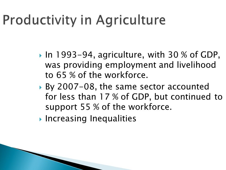  In 1993-94, agriculture, with 30 % of GDP, was providing employment and livelihood to 65 % of the workforce.