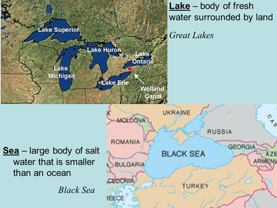 Lake – body of fresh water surrounded by land Great Lakes Sea – large body of salt water that is smaller than an ocean Black Sea