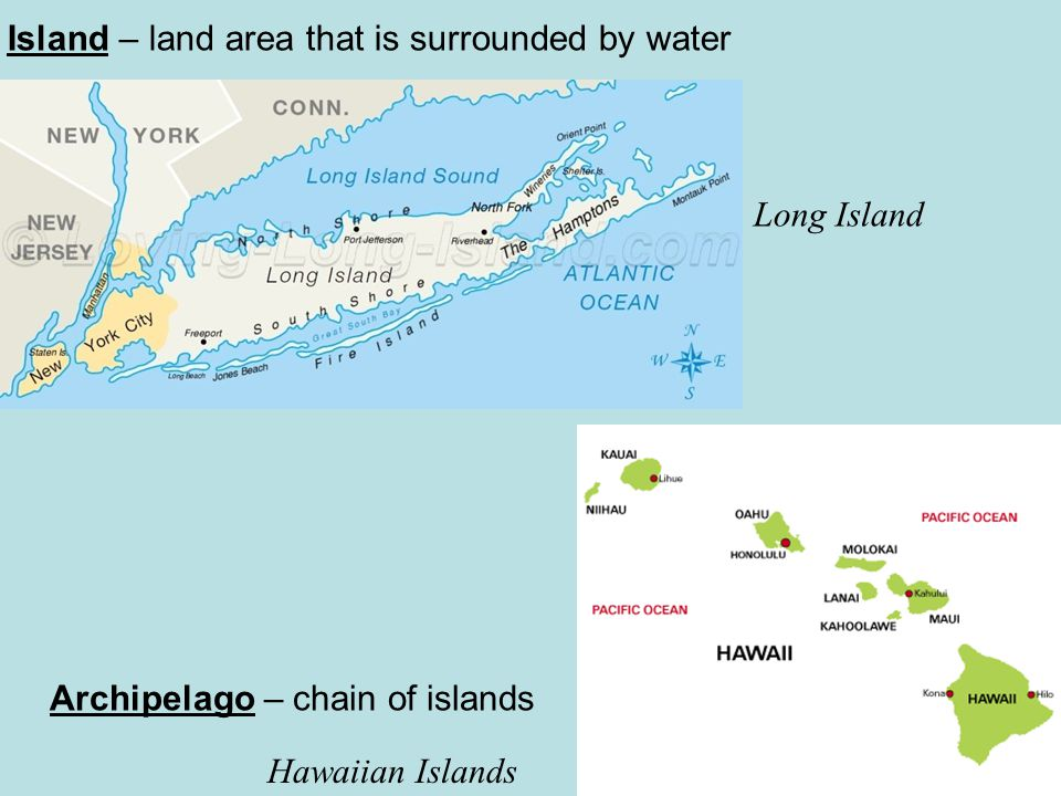 Cape – Narrow point of land that extends into a body of water Cape Cod, MA Peninsula – piece of land that is surrounded by water on three sides Florida