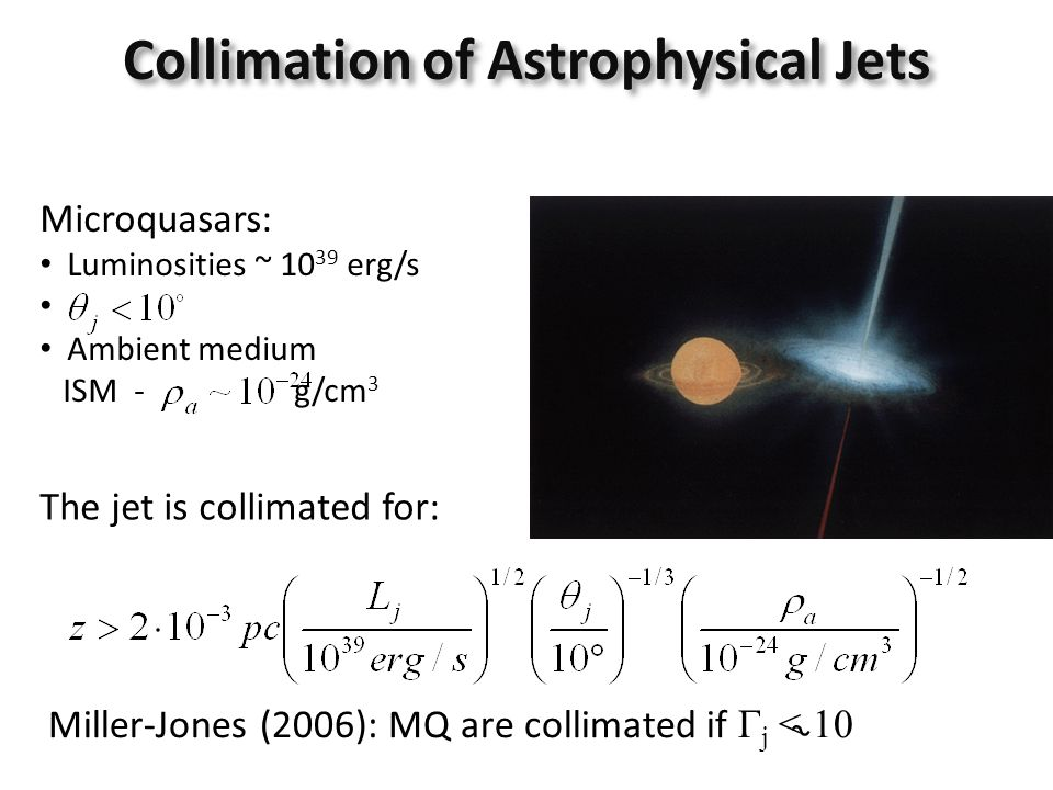 Collimation of Astrophysical Jets Microquasars: Luminosities ~ 10 39 erg/s Ambient medium ISM - g/cm 3 The jet is collimated for: Miller-Jones (2006):