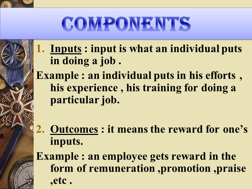 1.Inputs : input is what an individual puts in doing a job.