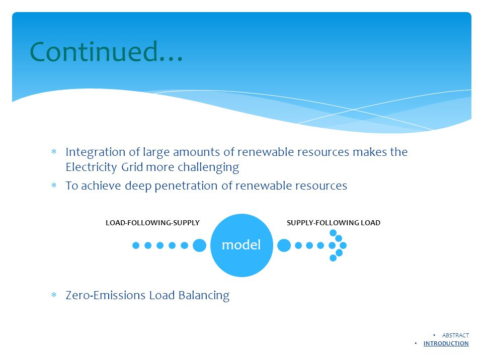  Integration of large amounts of renewable resources makes the Electricity Grid more challenging  To achieve deep penetration of renewable resources  Zero-Emissions Load Balancing Continued… model LOAD-FOLLOWING-SUPPLYSUPPLY-FOLLOWING LOAD ABSTRACT INTRODUCTION