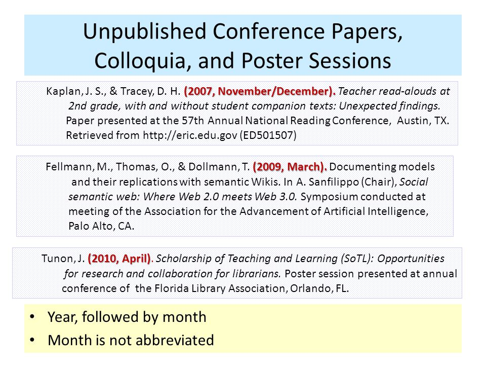 Unpublished Conference Papers, Colloquia, and Poster Sessions Year, followed by month Month is not abbreviated (2009, March).
