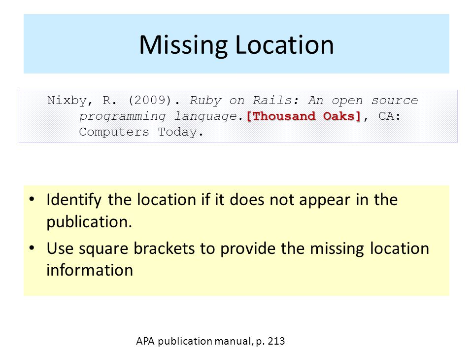 Missing Location [Thousand Oaks] Nixby, R. (2009).