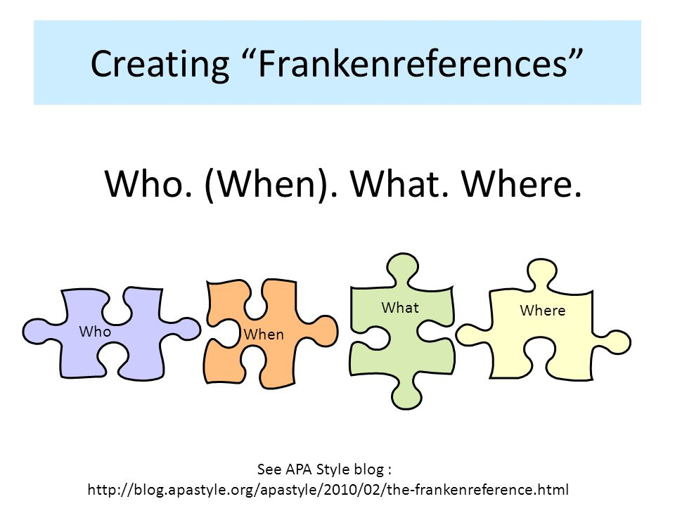Creating Frankenreferences Where What Who See APA Style blog : http://blog.apastyle.org/apastyle/2010/02/the-frankenreference.html Who.