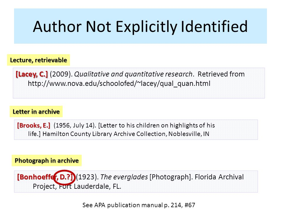 Author Not Explicitly Identified See APA publication manual p. 214, #67 [Lacey, C.] [Lacey, C.] (2009). Qualitative and quantitative research. Retriev
