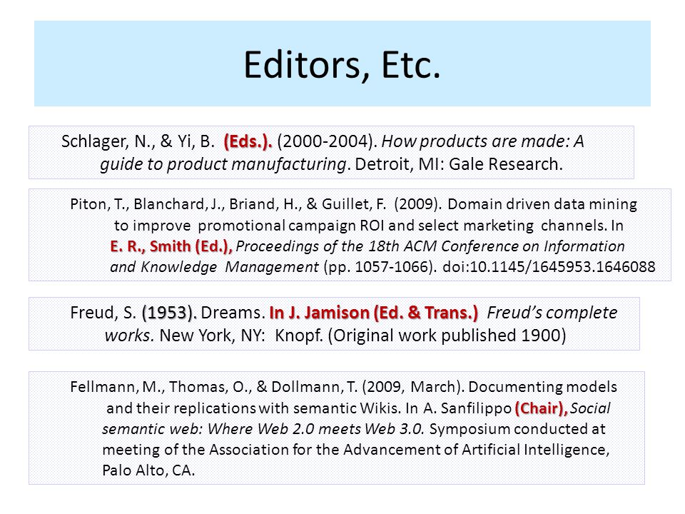 Editors, Etc. (Eds.). Schlager, N., & Yi, B. (Eds.). (2000-2004). How products are made: A guide to product manufacturing. Detroit, MI: Gale Research.